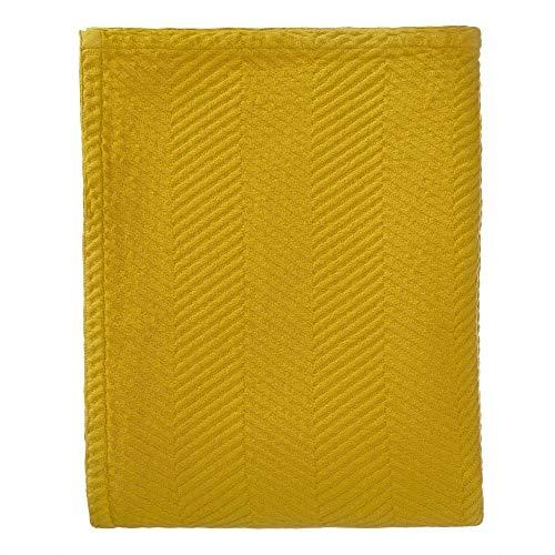 """URBANARA Tagesdecke """"Lixa"""" – 100% Reine Baumwolle, Senfgelb, texturiertes Fischgrat – 180 x 230 cm, Überwurf, Decke, Bettüberwurf, Sofaüberwurf, Baumwolldecke"""