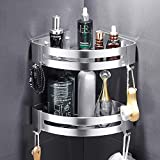 Corner Shower Caddy, Bathroom Shower Caddy Corner, Durable Space Aluminum Corner Shower Shelf 2 Packs for Kitchen or Toilet with 4 Hooks, Self-Adhesive with Glue or Wall Mount with Screws
