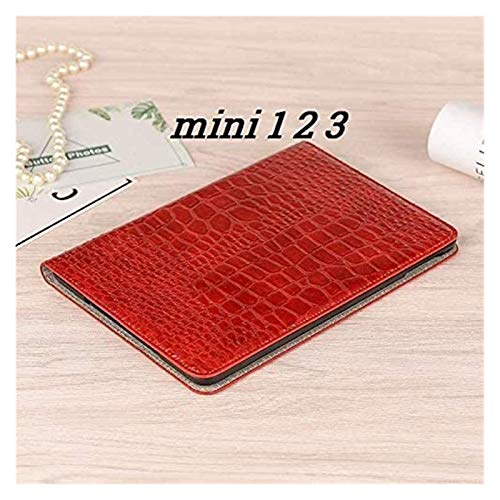 ZRH Accesorios de pestañas para iPad Mini 1 2 3 4 5, Caja de Cuero de la Plaga de la Tarjetas de Soporte del Soporte del cocodrilo para iPad Mini 5 7.9 '' (Color : Mini 1 2 3 Red)