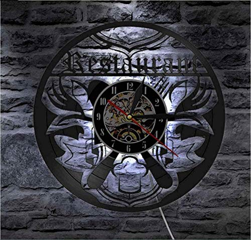 TIANZly Reloj de Pared de Vinilo Restaurante Cocina de Negocios cantimplora cantimplora Cocina de Pared Chef Gourmet Regalo de Regalo Cuchillo Cuchillo