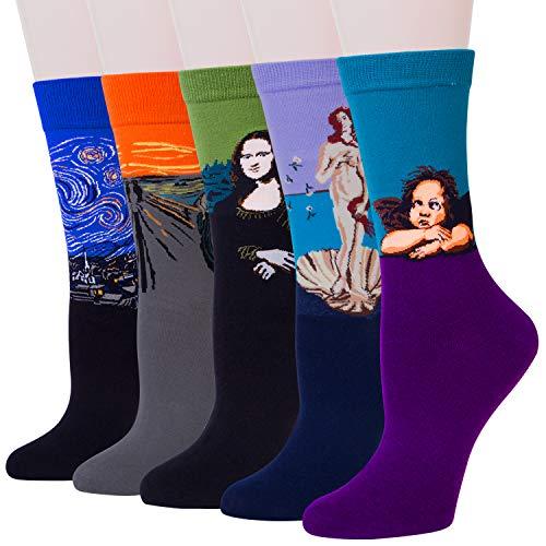 YSense Damen Socken mit Bunte Kunst Motive, Lustige Geschenk Baumwollesocken, Ölgemälde Socken 4/5 Paar MEHRWEG