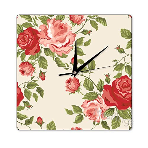 Mesllings Scale-Free Wall Clocks Fresh Spring Style Roses Pattern (4)