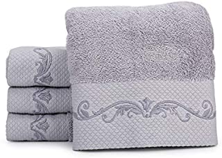 WeiWyTex 100% Pakistan Cotton Luxury Extra Large Hand Towels Set for Bathroom Decorative   4 Pack 16x31 in   750 GSM Five-Star Hotel Standards   High Water Absorbability   Thick and Soft (Gray)