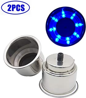 Blue Stainless Steel Cup Drink Holder Insert with Drain & LED Marine Boat Rv Camper