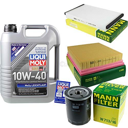 Juego de filtros de 5 litros de aceite de motor Liqui Moly MoS2, 10 W-40, filtro de habitáculo, filtro de aire, filtro de aceite
