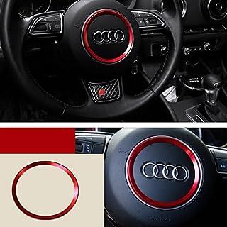 Audi アウディ 内装 ステアリングホイール センター 装飾リング カバー Audi A1 A3 A4L A5 A6L A7 Q3 Q5 S3 S5 S7 TT レッド K001-28