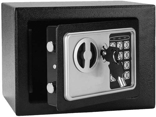 Safe Box, Wesoky Fireproof Lock Box Security Safe, Home Digital Safe Cabinet Safes for Passports Money Cash Jewelry Storage - 0.17 Cubic Feet