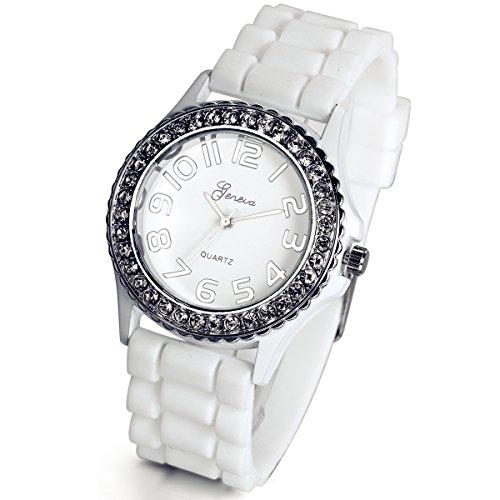 Reloj de pulsera Lancardo, para mujer, esfera blanca con brillantes plateados, redondo, con correa de resina con textura, con bolsa de regalo