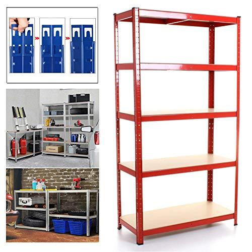 Shed Garage Shelving Unit for Storage, 150x70x30cm 5 Tier Storage Shelf Unit, Heavy Duty Metal Racking Workbench w/5 MDF Board, 875Kg Load Capacity(175Kg Per Shelf), Rubber Feet, Red
