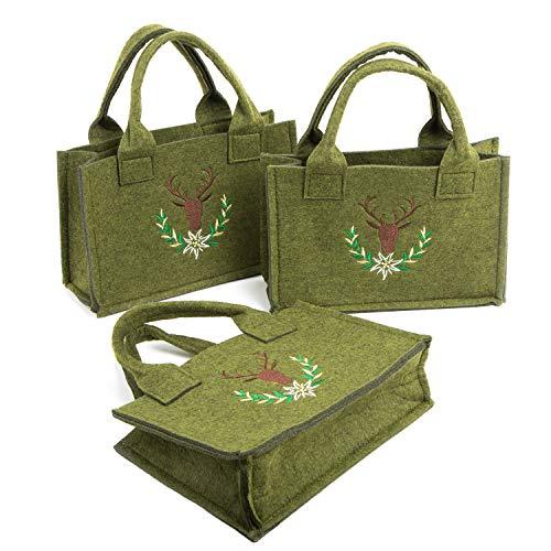 Logbuch-Verlag 3 kleine Taschen aus Filz - Henkeltaschen grün braun rustikal - Filztasche Geschenktasche Verpackung Weihnachten Oktoberfest