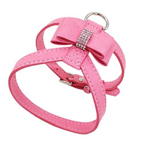 Verstellbarer Hundegeschirr Brustgeschirr Softgeschirr mit Strass Schleife Dekor für Hunde Training - Rosa, M