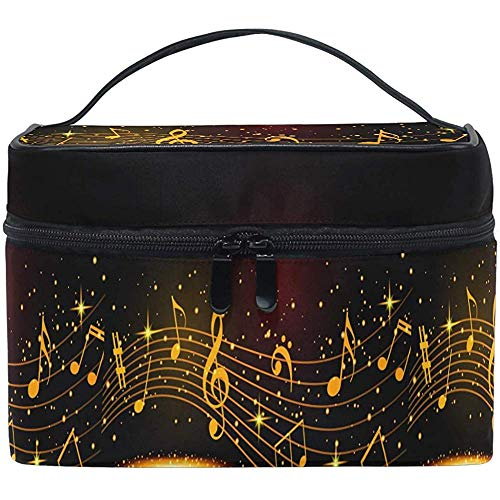 Abstrait Musical Notes Maquillage Cosmétique Sac Or Feuille de Musique Portable Zip Brosse Sac Organisateur De Stockage