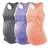 Ecavus 3PCS Women's Maternity Tank Tops Seamless Racerback Workout Athletic Yoga Tops Pregnancy T-Shirt