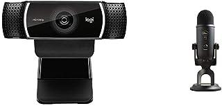 Logitech C922x Pro Stream Webcam & Blue Yeti USB Mic for Recording & Streaming on PC and Mac, 3 Condenser Capsules, 4 Pick...