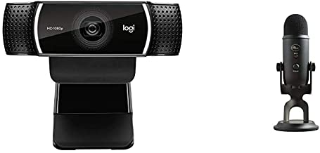 Logitech C922x Pro Stream Webcam & Blue Yeti USB Mic for Recording & Streaming on PC and Mac, 3 Condenser Capsules, 4 Pick...