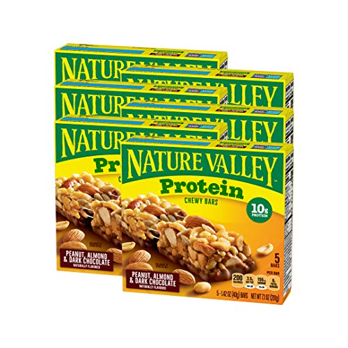 Nature Valley Chewy Granola Bar, Protein, Peanut, Almond and Dark Chocolate, Gluten Free, 1.42 oz, 5 ct (Pack of 6)