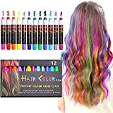 NANW 12 Color Temporary Hair Chalk, Hair Pens Crayon Salon Non-toxic Washable Hair Dye Safe Makeup kit for Cosplay Birthday New Year Christmas Gifts for Kids Girls Teen Adults