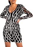 Adogirl Sexy Sequin Dress for Women See Through Sheer V Neck Bodycon Mini Dress Silver Dresses for Women L