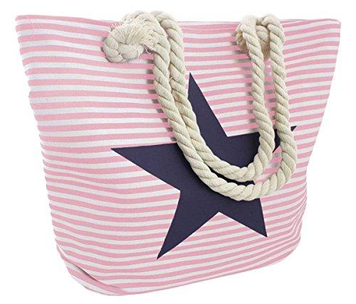 Sonia Originelli Strandtasche Stern Lena Beachbag Tasche Bag Streifen Maritim Farbe Rosa-Marine