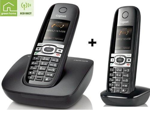 Siemens Gigaset CX610 + C610H DUO ISDN Schnurlostelefon OHNE Anrufbeantworter schwarz