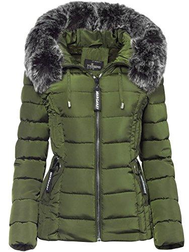 Trisens Damen Winter Jacke Pelz Kapuze KURZ Mantel SKI Jacke DAUNEN Optik, Größe:M, Farbe:Khaki