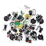HUNSHA 40 hojas/bolso lindo dibujos animados pequeño gato negro emoticono paquete casco mano cuenta equipaje decoración...