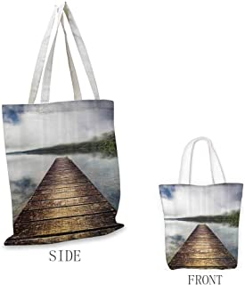 Tote, Eco-Friendly Wooden Bridge Decor Collection Jetty Stretching over Lake Rising Mist on Hills Landscape Picture, 16.5