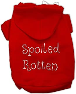 Mirage Pet Products 54-75 SMRD Spoiled Rotten Rhinestone Red Hoodie, Small