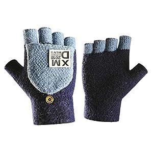 Caseeto 手袋 メンズ ニット 2WAY 防寒 冬 グローブ 紳士 指なし