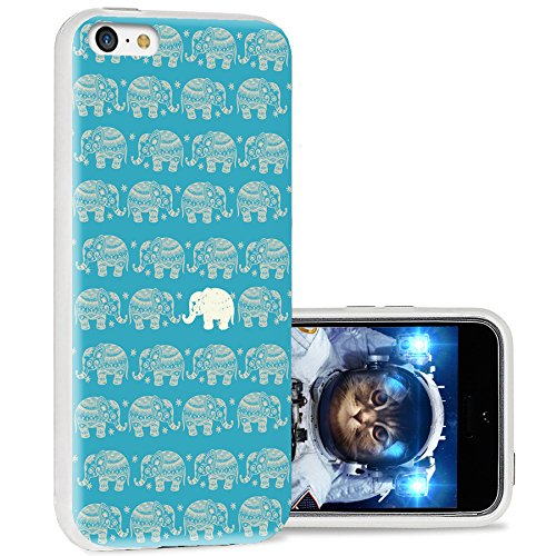iPhone 5c case Cool, iPhone 5c case Cute, ChiChiC Full Protective Stylish Case Slim Durable Soft TPU Cases Cover for iPhone 5c,Cute Gold Elephant on Teal Background