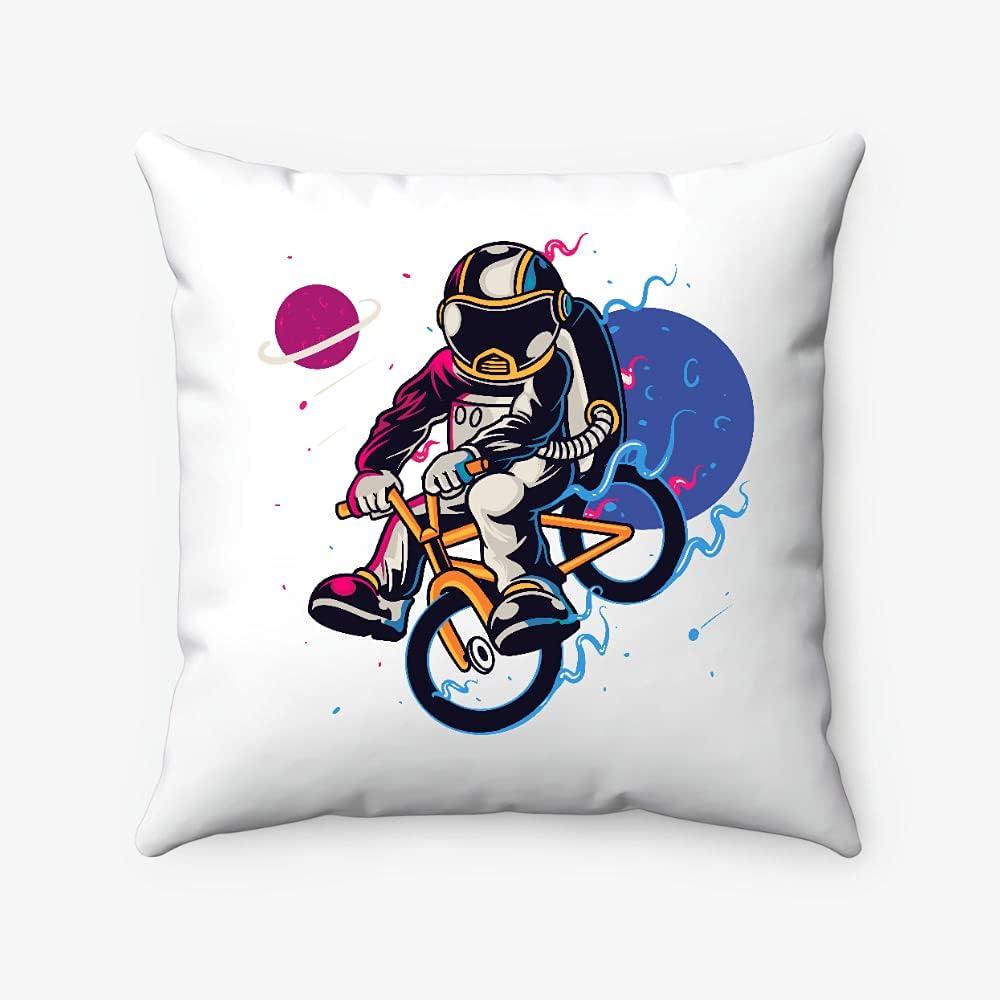 Miniot Astronaut Riding Bicycle Pillow Las Vegas Mall Square Ranking TOP13 Decorativ -