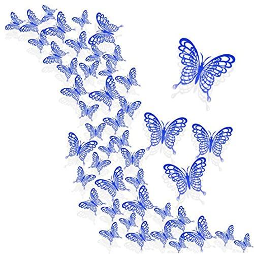 NIDONE Etiqueta de la Pared estéreo Hueco de Insectos DIY decoración del hogar para el Partido 36PCS Azul