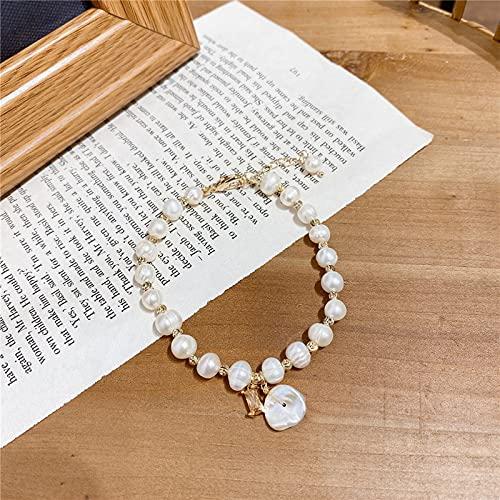 Pulsera barroca de perlas de agua dulce Pulsera de oro real chapada en corazón de estilo coreano Viento frío Chica