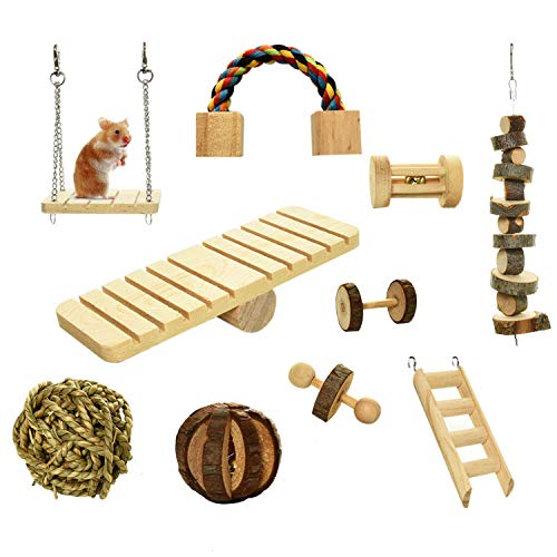 Gonioa Hamster Chew Toys, 10 PCS Natural Wooden Chinchilla Toys Dumbells Exercise Bell Roller, Toys Accessories Teeth Care Molar for Birds Bunny Rabbits Gerbils