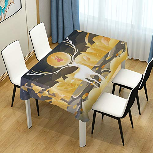 Mr.Lucien Cute Reindeer Moon Young Girl Watercolor Painting Tablecloth Animal Fantasy Gorgeous Table Cover for Kitchen Dinning Halloween Christmas Tabletop Decoration 54' x 54' 2020608