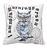 Kissenday 18x18 Inch I'm Not A Morning Person Owl Clock Cotton Polyester Decorative Home Decor Sofa Couch Desk Chair Bedroom Car Humor Colorful Alarm Fun Daughter Love Gift Square Throw Pillow Case