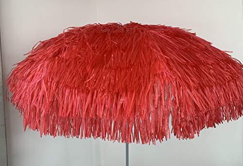Jan Kurtz Parasol Hawaii - En polyester - Rouge - Armature en métal laqué - Avec articulation - Diamètre : 180/200 cm