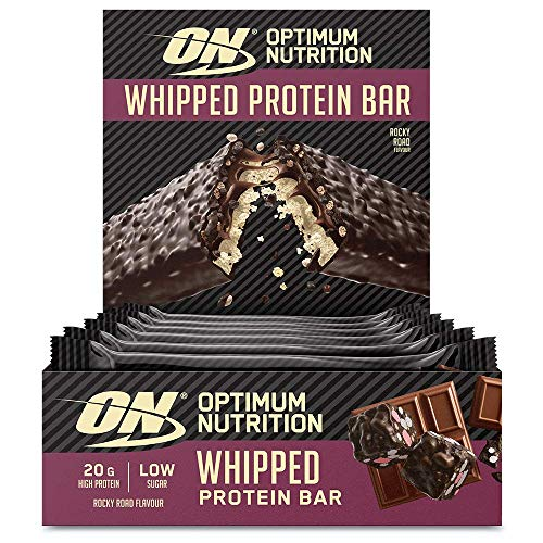 Optimum Nutrition ON Whipped Bar, High Protein Snack with Milk Chocolate Coating, Low Sugar Protein Bar, Rocky Road, 10 x 60 g Pack
