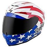 Scorpion EXO-R420 Full-Face Tracker Street Motorcycle Helmet - White/Red/Blue/Large