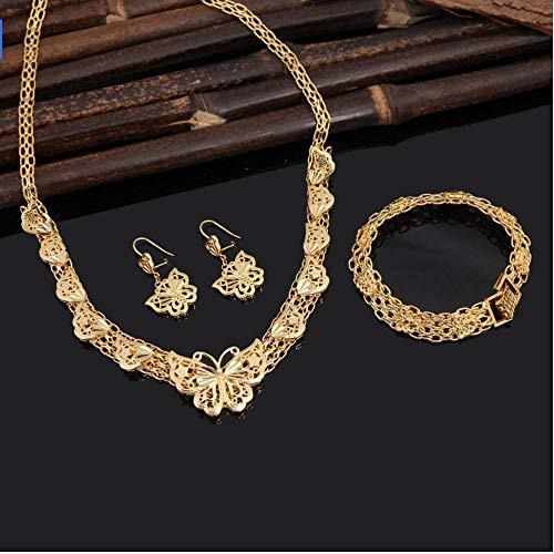 NCDFH Conjuntos de Joyas de Boda de Moda etíope Conjuntos de Collar de Pulsera con Pendiente de Mariposa de Color Dorado de 24 K para joyería de Boda
