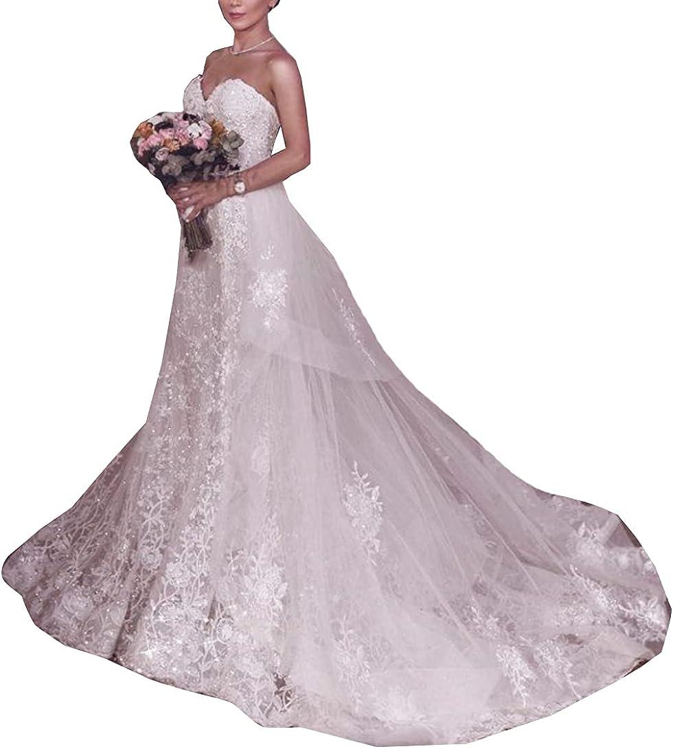 Sweetheart Neckline Sequins Lace up Corset Bridal Gowns Detachable Train Mermaid Wedding Dresses for Bride