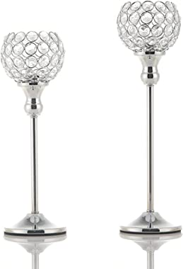 VINCIGANT Silver Crystal Tea Light Candle Holders/Sparklers Wedding Candelabra Housewarming Dining Room Coffee Table Decorative Centerpiece,Set of 2