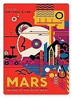 火星を訪れる メタルポスタレトロなポスタ安全標識壁パネル ティンサイン注意看板壁掛けプレート警告サイン絵図ショップ食料品ショッピングモールパーキングバークラブカフェレストラントイレ公共の場ギフト