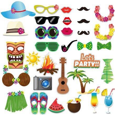 Veewon Luau, kit in 32 pezzi fai da te per fare foto in stile Hawaiano, per feste sulla spiaggia, feste estive, feste in piscina