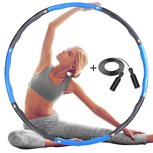 DUTISON Hula Hoop Reifen, Fitness Übung Gewichteter Hula-Hoop-Reifen mit Schaumstoff Einstellbar, Abnehmbares und Größenverstellbares Design für Fitness (4 Knoten Grau + Blau) mit Springseil Jump Rope