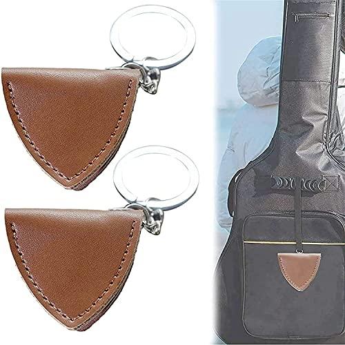 Estuche para púas de guitarra rústica de 2 piezas, funda protectora para púas de guitarra, bolsa de almacenamiento, llavero, llavero