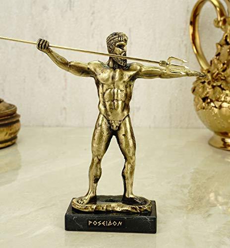 Alabaster Metall Figur Poseidon Gott des Meeres 15 cm Gold/matt Skulptur