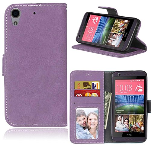LMAZWUFULM Hülle für HTC Desire 650 / 626G / 628 (5,0 Zoll) PU Leder Magnet Brieftasche Lederhülle Retro Gefrostet Design Stent-Funktion Ledertasche Flip Cover für HTC 650 / 626G / 628 Lila