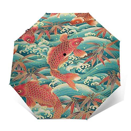 TISAGUER Paraguas automático de Apertura/Cierre,Imagen de Estilo japonés Chino Vintage,Carpa Saltando en...
