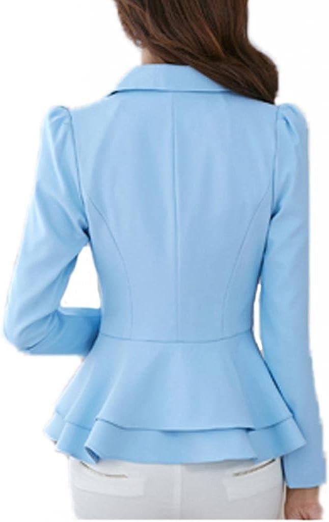 Womens Long Sleeve Falbala Solid Slim Casual Suit Jacket Blazer Coat Light Blue
